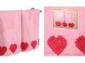 Набор подарочный для бани Santalino Комплект Сердца, розовый