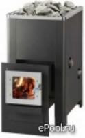 Электрическая печь Печь дровяная Helo 16 K L VPO SL со стеклянной дверцей, черная