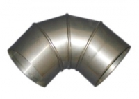 Дымоход Колено труба 90гр 130мм (нержавейка 1мм)