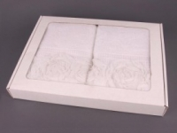 Полотенце Santalino Комплект Розы, белый.