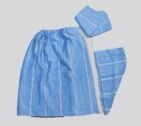 Набор для сауны 3 пр.:парео, капор, полотенце махровый женский голубой