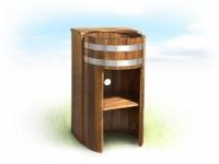 Умывальник-стойка из лиственницы и дуба, с подставкой для смесителя