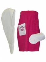 Набор подарочный для бани Noname В-21 Комплект женский, 3 предмета, с вышивкой
